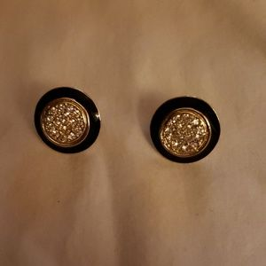 Jewelry - BLACK & GOLD ROUND EARRINGS WITH RHINESTONES